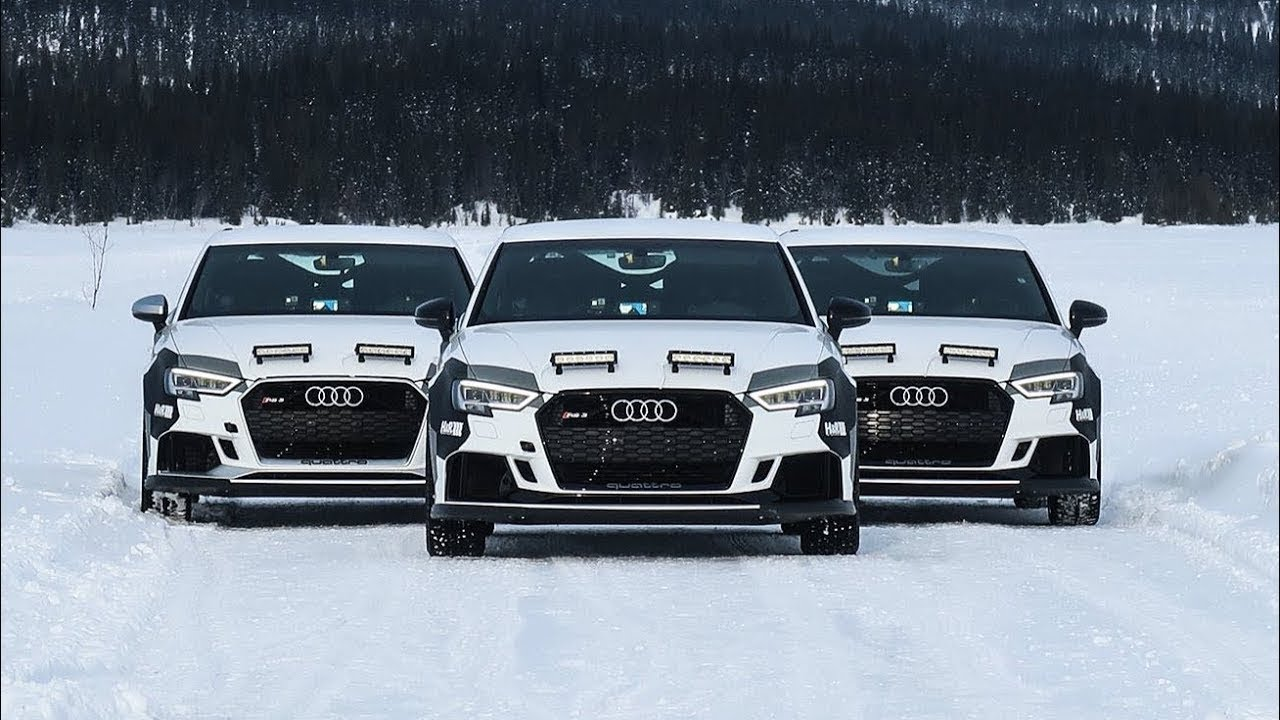 Eventuri Equipped Audi RS3's Snow Drifting